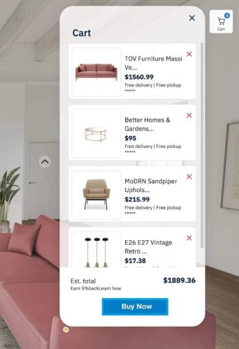 image showing a shopping cart for byondxr interior showroom example cart